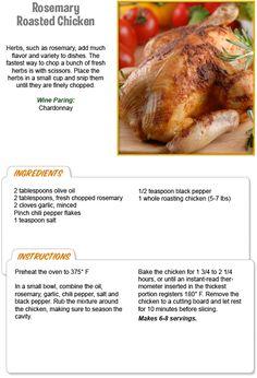 Roasted Rosemary Chicken Family Recipes, Family Meals, Stew Leonard's, Wine Paring, Rosemary Roasted Chicken, Recipe Details, Fresh Herbs, Christmas Recipes, Meal Ideas