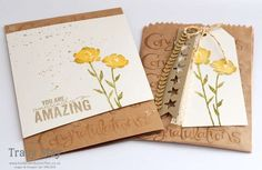 Stampin' Up! Painted Petals Card & Mini Treat Gift Bag by Tracy May, Bedlam & Butterflies
