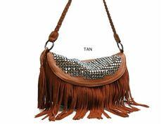 Galian Miranda Rhinestone Shoulder Bag Fringe Studded Purse - Tan