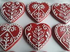 Red and white gingerbread Valentine's Day by CookmunkCookies, $42.00  --  Just thought they were pretty!