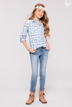 The best kind of blues... blue plaid button-ups and denim!