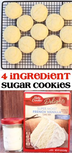 These 4 ingredient French Vanilla cookies ar… Soft Vanilla Sugar Cookies Recipe! These 4 ingredient French Vanilla cookies are such a delicious dessert for any occasion! French Vanilla Cake, Vanilla Cake Mixes, Vanilla Cookies, Vanilla Sugar, Vanilla Cookie Recipe, Sugar Cookie Recipe Easy, Cake Mix Cookie Recipes, Cake Mix Cookies, Cupcakes