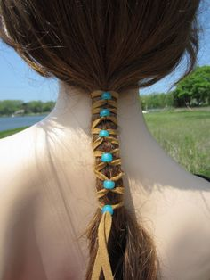2 Suede Hair Wraps Ponytail Holders Beaded Bead Extensions Brown Turquoise Blue