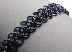 Chainmaille Bracelet - Reversible Japanese Lace Weave - Enchanted Moon