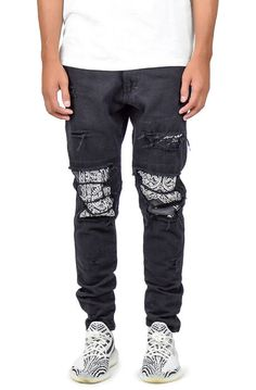 1d18d68a @karmaloop $78.00 $ Converter The Ripped Bandana Patched Jeans in Black  Hover image to zoom