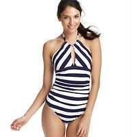 Nautical Stripe Keyhole Halter One Piece Swimsuit - A peekaboo keyhole neckline adds flirty allure to this fresh striped style. Halter ties at back neck. Removable soft foam cups. Lined. To give you the best possible fit, use the following list to match sizes to your cup size: XS=A, S=A/B, M=B/C, L=C, XL=C/D