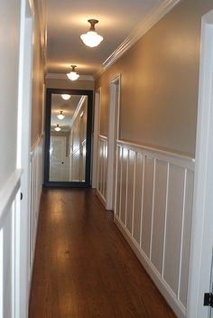 Hallway chair-rail and light fixtures. for the long hallway Hallway Chairs, Hallway Mirror, Long Hallway, Upstairs Hallway, Living Room Chairs, Dining Chairs, Wall Mirrors, Bar Chairs, Dining Room