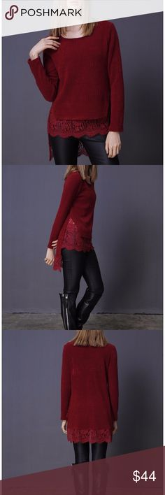 Burgundy Ribbed Side Slit Layered Lace Sweater Burgundy Ribbed Side Slit Layered Lace Sweater  * Ribbed maroon/wine sweater with Lace Detail * Pairs beautifully with leggings and your favorite black boots * Perfect for fall! Sweaters
