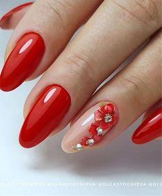 Red Nail Designs, Beautiful Nail Designs, Acrylic Nail Designs, Red And White Nails, Blue Nails, Color For Nails, Red Nail Art, Nagellack Trends, Oval Nails