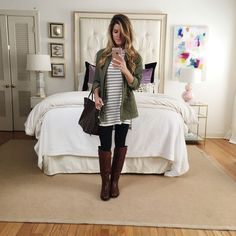 what to wear with leggings - utility jacket and striped tunic tee