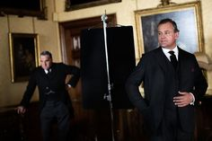 """Jim Carter, left, and Hugh Bonneville pause during filming of Season 3 of """"Downton Abbey."""""""