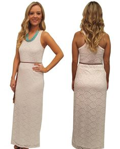 White Lined Lace Belted Maxi Dress  www.lovebliss.com
