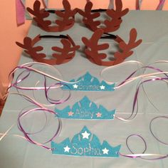 Disney Frozen party ideas. Elsa crown and Sven antlers.