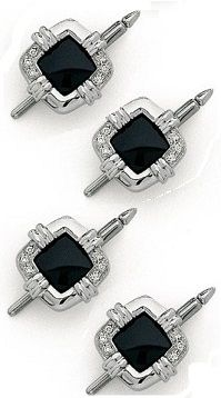 EZ Tuxedo Crystal Cufflinks and Studs with Royal Blue Center