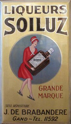 1927 French Art Deco Metal Wall Art, Alcohol Sign, Belgian Liqueur Soiluz Tin Advertisement, Vintage Metal Sheet Plate, Alcohol Gift