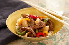 "Healthy Living~Asian Beef Stir-Fry recipe-This just goes to show you: ""Fast food"" can be smart eating. Mix thinly sliced beef with veggies in a sesame sauce, and you've got dinner on the table in 20 minutes. Stir Fry Recipes, Beef Recipes, Cooking Recipes, Healthy Recipes, Sirloin Recipes, Healthy Foods, Yummy Recipes, Healthy Eating, Ground Beef Stroganoff"