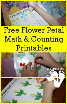 Free printable flowers - with the bonus of being a little maths project too! There's something about a FREE printable that is appealing to parent and child. Our kids like to do their own thing, yet some of their friends… Spring Activities, Craft Activities For Kids, Preschool Activities, Math For Kids, Fun Math, Preschool Garden, Homeschool Math, Homeschooling, Spring School