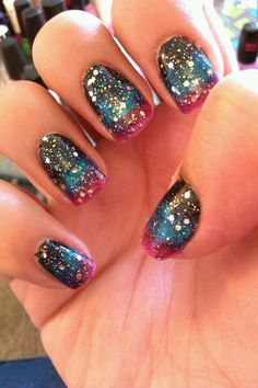 galaxy mani - black, blue, and pink gradient with glitter top coat. *see gradient how to pin on board