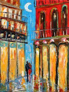 Original oil painting New Orleans Moon palette by Karensfineart