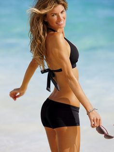"push up halter and boyshort bottoms?  yes, please.  victoria's secret ""beach sexy"" series."