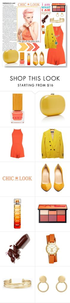 """Tropic Ana"" by espritducoeur ❤ liked on Polyvore featuring Habit Cosmetics, Boohoo, Dsquared2, Christian Louboutin, HUGO, LAQA & Co., Tory Burch, Stella & Dot, gold and yellow"