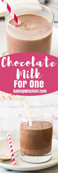 This recipe for Chocolate Milk for One makes one cup of amazing, delicious, really good chocolate milk with just four ingredients. (I substituted Swerve Erythritol for the sugar to make it Keto friendly. Best Chocolate Milk, Chocolate Powder, Chocolate Shake, Chocolate Syrup, How To Make Chocolate, Homemade Chocolate, Chocolate Recipes, Oreo Milkshake, Milkshakes