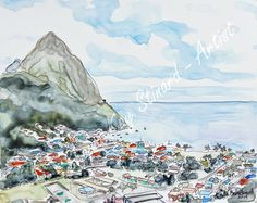 'Island View: St. Lucia' - 8 x 10 mixed media sketch on YUPO paper.