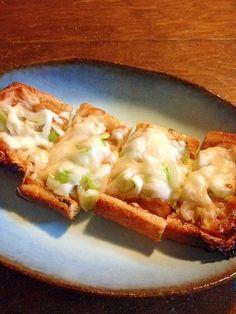 「おつまみに!!☆油揚げのネギ味噌チーズ焼き」トースターで焼くだけ!簡単です。おつまみに、スピードメニューです。【楽天レシピ】