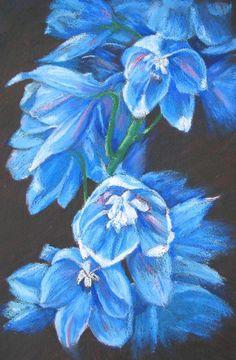 Marion's Floral Art Blog: Blue Delphiniums in Oil Pastel