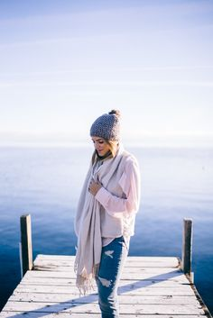 Gal Meets Glam GAP Winter Outfit - Old Navy Vest, Athleta Scarf and Beanie, Gap Skinny Jeans,