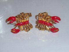 Vintage Cuff Links. Red Enamel Lobster Cuff Links.