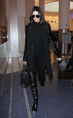Touching down at LAX in her tried and true fashion formula: all black everything.    - HarpersBAZAAR.com