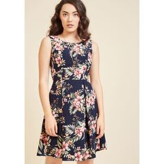 I Rest My Grace A-Line Dress in Navy Hibiscus (£56) ❤ liked on Polyvore featuring dresses, print dresses, leaf print dress, navy a line dress, navy dress and a line silhouette dress