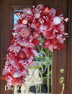 RED and WHITE CANDY Cane Christmas Wreath by decoglitz on Etsy