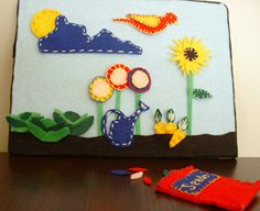spring felt board, Like the idea to teach, planting a seed,watering and flower growing as a hands on practice/play