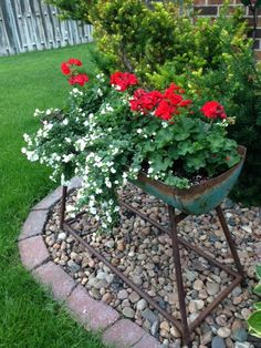 Trough planted with Geraniums and Bacopa. Trough found at Grain Bin Antique Town in North Platte, NE! Check us out!