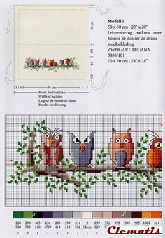 silly owls on branch 1 of 2 cross stitch