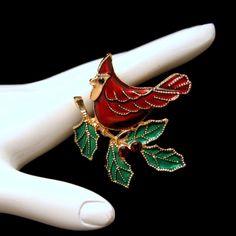 Mid Century Cardinal Bird Vintage Brooch Pin Red Green Enamel Holly Leaves Rhinestones MyClassicJewelry. Etsy.com