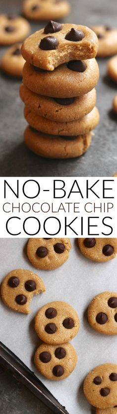 These tasty 7-ingredient No-Bake Chocolate Chip Cookies make the perfect healthy snack! Packed with wholesome ingredients like oats and cashew butter, they come together in just minutes. Vegan and gluten-free.