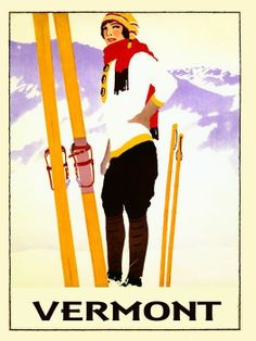 Vermont Slopes Vintage Travel Posters Poster Signs Prints