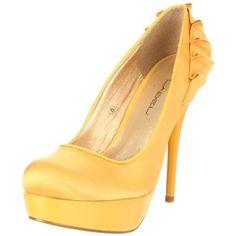 C LABEL Women`s Vex Platform Pump,Yellow,7 M US