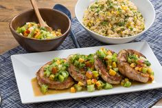 Pork Chops & Summer Vegetable Rice with Heirloom Tomato & Peach Salsa. Visit https://www.blueapron.com/ to receive the ingredients.