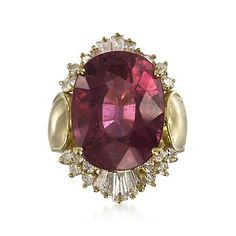 C. 1990 Vintage 17.60 Carat Pink Tourmaline and 1.85 ct. t.w. Diamond Ring in 18kt Yellow Gold. Size 8