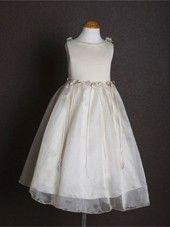 Ivory Elegant Satin Bodice Flower Girl Dress (Sizes Infants-14 in 12 Colors)