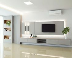Modern Tv Room, Modern Tv Wall Units, Living Room Modern, Home Living Room, Wall Unit Designs, Living Room Tv Unit Designs, Küchen Design, Design Case, Design Ideas