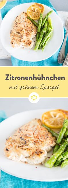 Schnelle Feierabendküche: Zitronenhühnchen mit grünem Spargel. Mit nur 3 Zutaten und ein paar Gewürzen zu einem leckeren Abendessen