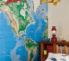 Jumbo World Map Mural | Pottery Barn Kids For Cameron's room - can be used with dry erase markers too!