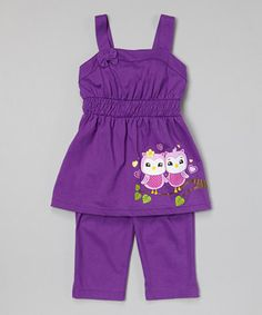 This Purple Bird Tunic & Capri Pants - Toddler & Girls by G&J Relations is perfect! #zulilyfinds