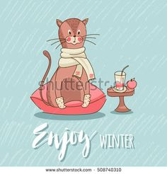 Cute Cartoon cat in socks and scarf sitting on a pillow near smoothies and apple, enjoy the comfort. Children's illustration, card. Enjoy winter.
