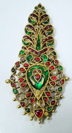 Antique Royal Gold Diamond Ruby Emerald Maharaja turban pin pendant Jewelry